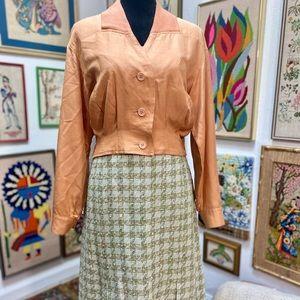 Vintage Tweed Green Colorful Metallic Pleat Skirt